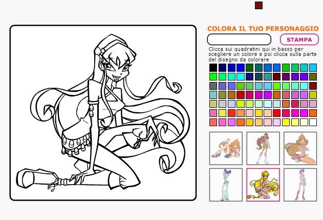 trò chơi tô màu công chúa winx