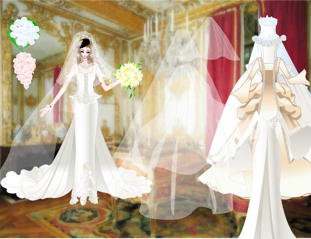 choi mặc váy cô dâu