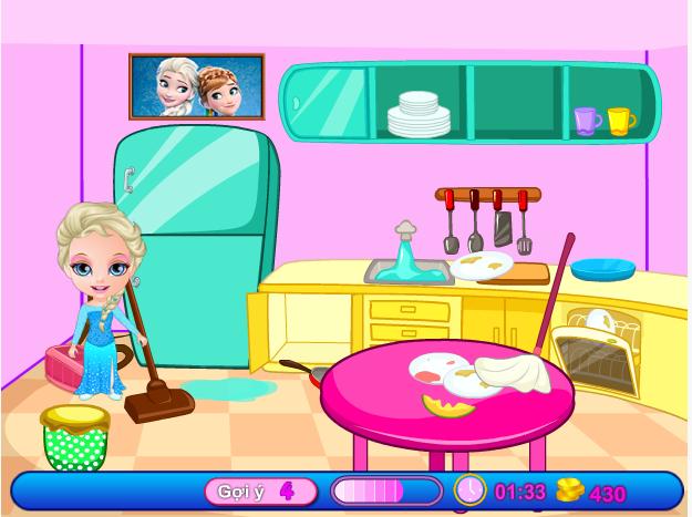 choi game Elsa dọn nhà