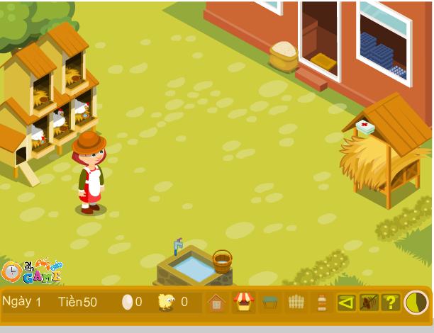 choi game trang trại nuôi gà