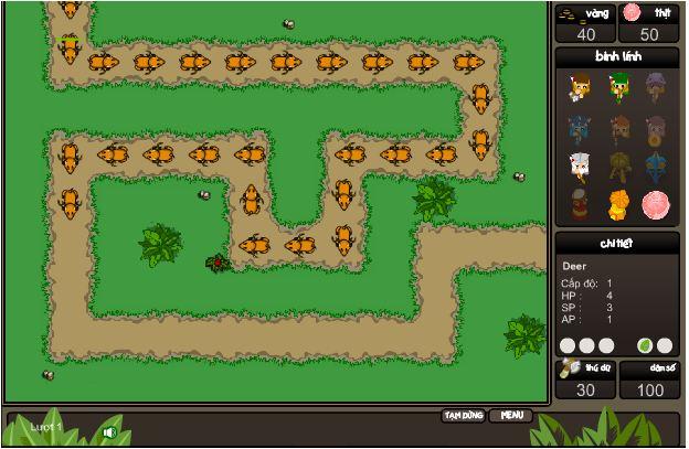 chơi game cuộc chiến rừng xanh