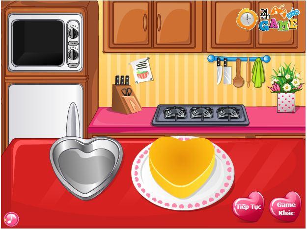 chơi game làm bánh valentine