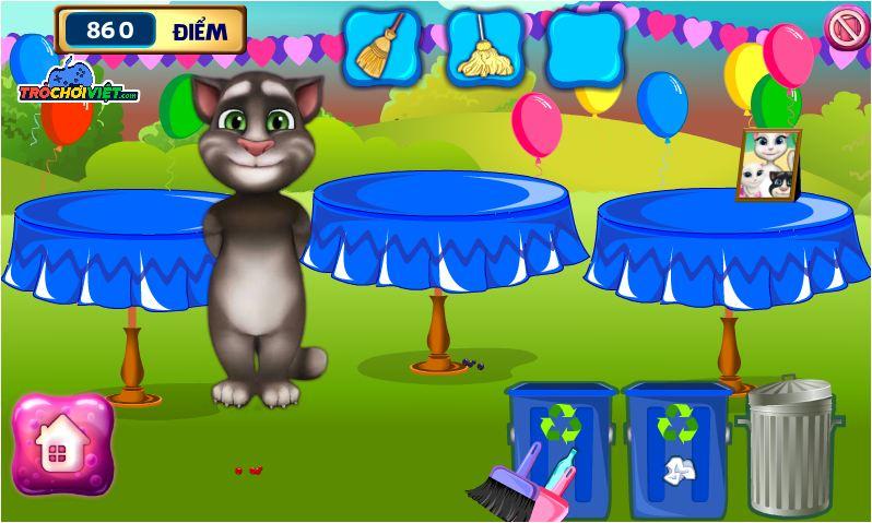 chơi game mèo Tom dọn dẹp