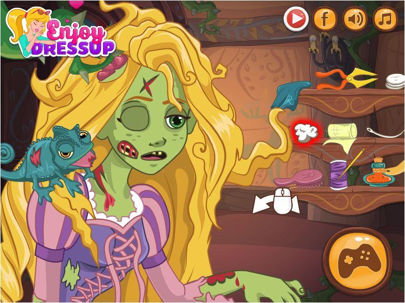 chơi game công chúa tóc mây biến thành zombie