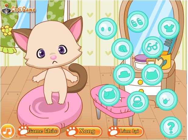 game làm đẹp cho mèo yêu